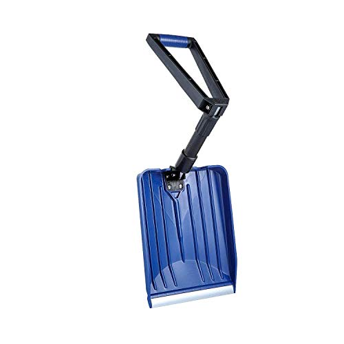 ORIENTOOLS Pelle à Neige en Plastique Pliable portative, Pelle Utilitaire légère pour Sport, poignée caoutchoutée en D (Noir/Bleu, Longueur: 36-80cm, Lame en Plastique renforcé: 33cm x 28cm)