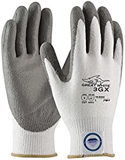 PIP Great White 3GX 19-D310 White/Gray Large Dyneema/Nylon Cut-Resistant Gloves - ANSI 3 Cut Resistance - Polyurethane Palm & Fingers Coating - Seamless Knit - 616314-16746 [PRICE is per PAIR]
