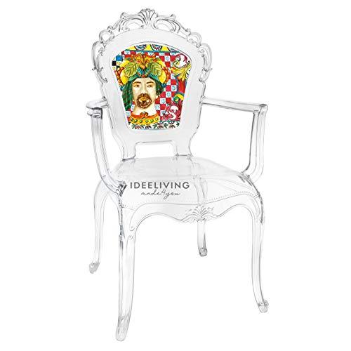 Sessel aus Polycarbonat mit Armlehnen, Kollektion Baroque & Rock Sicily von Baci Milano – Herren rot