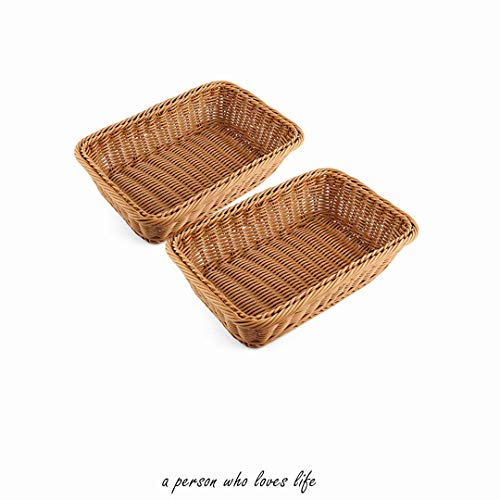 "2pcs 11.8""Rectangle Imitation Rattan bread basket, woven tabletop and vegetable serving basket, restaurant service, brown"