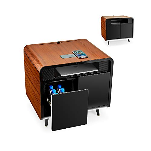 SOBRO Smart Side/Nightstand Table - with Cooling Drawer, Wireless Charging, Bluetooth Speakers, USB-C and 120V outlets, LED Light, Wood/Black