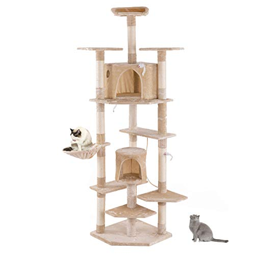 saxz Cat Tree Tower, Sisal Scratching Post Apartment Hammock Plush Perch, Kitten Plush Perch For Big Cat Beige