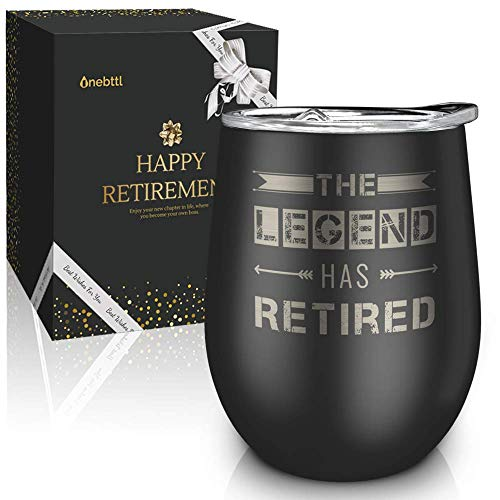 Product Image 1: Best Unique Tumbler for Retirement -The Legend Has Retired-12oz Wine Tumbler with Spill-Proof Lid, Stainless Steel Double Wall Vacuum Insulated Wine Cup, For Dad, Police, Teacher, Boss, Retired Men