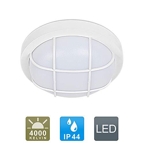 LED Deckenleuchte IP44 Wasserfest 12W 1260lm Neutralweiß für Badezimmer Wohnzimmer Flur Küche Schlafzimmer Balkon Korridor Büro usw.(Weiß)