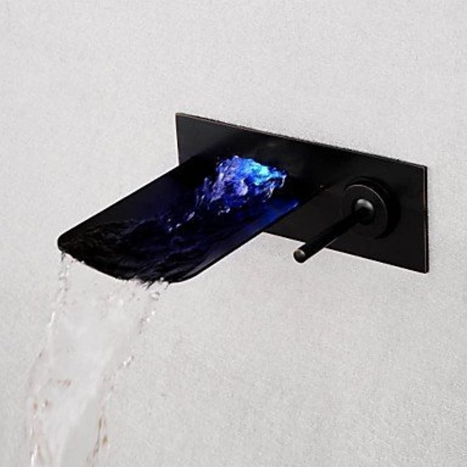 XINXI HOME Basin Tap Brushed LED bluee Green Red Light Waterfall Wall Mounted Bathroom Basin Faucet - Black Bathroom Faucet Basin Mixer Tap