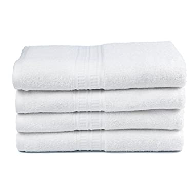 Premium Bamboo Cotton Bath Towels - Natural, Ultra Absorbent and Eco-Friendly 30  X 52  (Snow White), Pack of 4
