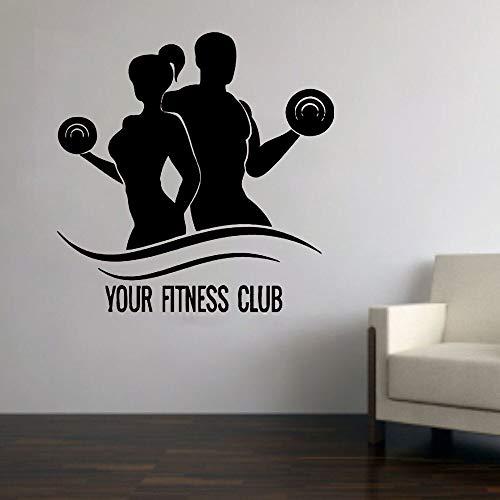 Fitness club tatuajes de pared gym art pegatinas de pared decoración del hogar pegatinas cartel mural decoración de la habitación patrón de culturismo