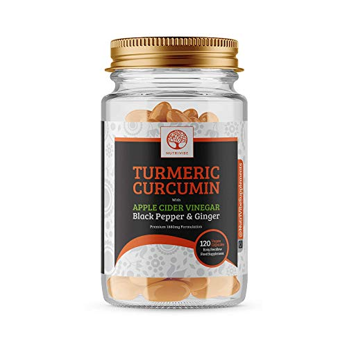 Natural Turmeric Capsules with Apple Cider Vinegar and 95% Curcumin, 1880 mg, BioPerine Black Pepper Bioavailability, Natural Anti-Inflammatory for Joints, Extra Strength