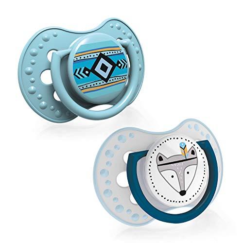 LOVI 2x dynamischer Silikon-Schnuller   ab 0 bis 3 Monate   Hygienische Abdeckung   Beruhigende Wirkung   Schützt den Saugreflex   Retro Baby Boy   Grün