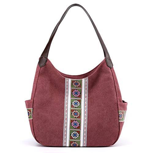 Hiigoo Canvas Purses Women Handbag Bag Retro Casual Totes Multi-functional Messenger Bags (Red)