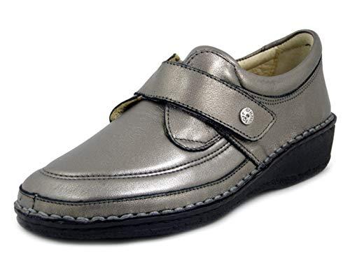 CINZIA SOFT, Orthopädische Linie für Damen, aus Leder und Kunstleder, elastisch, Zinn mit Strap, breite Pflanze, herausnehmbares Fußbett, niedriger Keilabsatz, Beige - Zinn - Größe: 37 EU