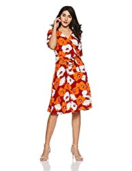 United Colors of Benetton Womens Wrap Knee-Long Dress