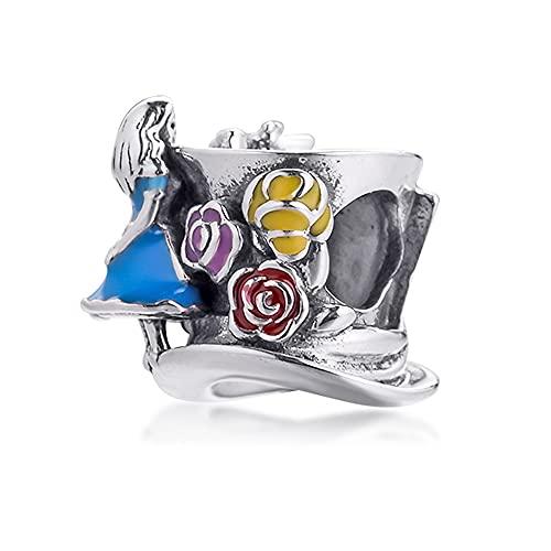 BAKCCI Abalorio de plata 925 para fiesta de té de primavera y el sombrero loco, ideal para pulseras Pandora originales