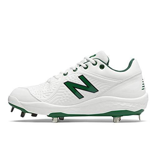 New Balance Men's Fresh Foam 3000 V5 Metal Baseball Shoe, White/Green, 9.5