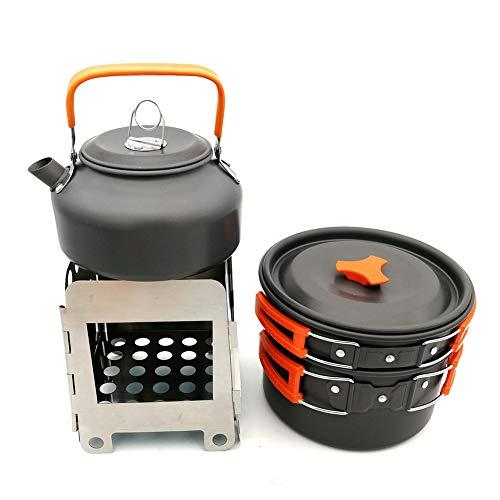 WYYHAA Multi-PCS Kit de Casseroles Camping Camping Set De Cuisine Kit Mess Batteries De Cuisine Antiadhésives Pots Légers Casseroles avec Sac-Filet Set pour Pique-Nique Backpacking,B