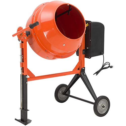 SUNCOO 3/4HP Electric Concrete Cement Mixer 4.2 Cu Ft, 550W Mortar Mixing Stucco Seeds Portable Barrow Machine