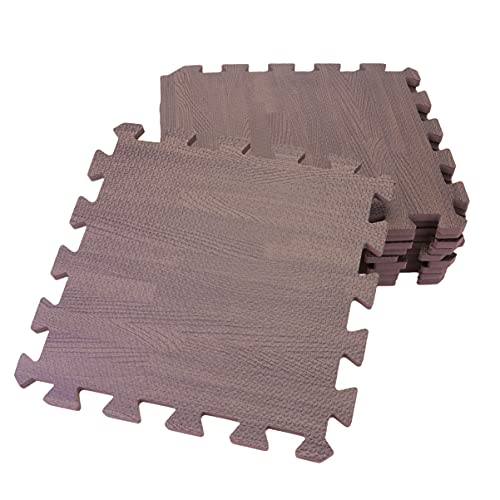WINOMO 12Pcs Holzmaserung Fliesen Eva Schaum Verriegelung Fliesen Bodenbelag Matte Schlafzimmer Matten Ceva Schaum Puzzle Boden Matte
