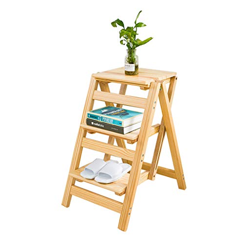 LRZLZY 3-Stufen-Klapptrittschemel Multifunktions-Haushalt Massivholz-Leiter Tragbare Blumen-Standplatz/Schuh Bank/Storage Shelf Größe 41x55.5x67cm Stabilität und Sicherheit