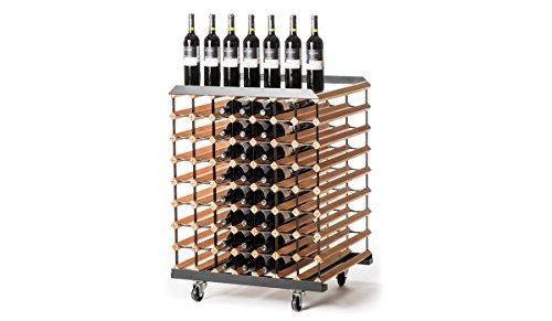 RAXI™ Motion- Botellero móvil de madera de haya con diseño de lujo, ideal para presentar tu vino o vinothek, 112 botellas
