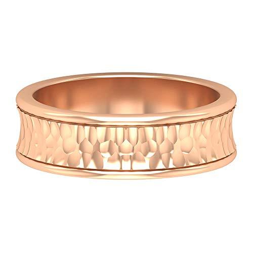 Banda de compromiso única, anillo vintage de oro texturizado, banda ancha, anillo de novia antiguo, anillo de boda para hombre, anillo de aniversario, anillo de todos los días, 14K Oro