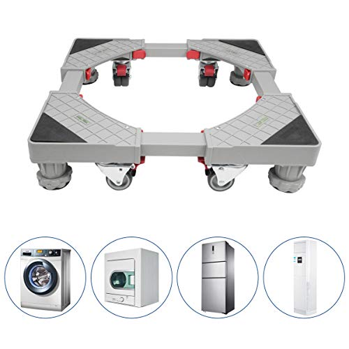 Fridge stand Adjustable Dolly Laundry Pedestal Telescopic Dolly Roller for Washing Machine Refrigerator with 4 rubber Locking Swivel Wheels and 4 Feet Washer