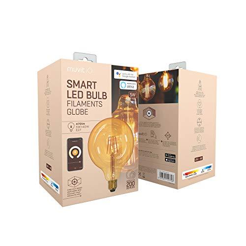 muvit iO Bombilla Inteligente Filamentos Globo Grande E27/5W/470lm Ambar D125*H175