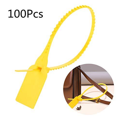 Plastic strips van nylon, 100 stuks, hersluitbaar, hersluitbaar, met ritssluiting van de rits van de schoenveters. Geel