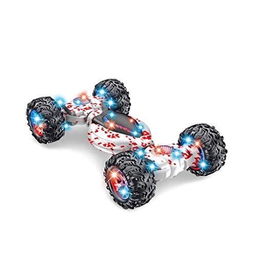 CMOM Coche teledirigido para acrobacias de Navidad, juguete para acrobacias, frenos, juguete de control remoto, regalo de cumpleaños para niños y niñas (rojo)