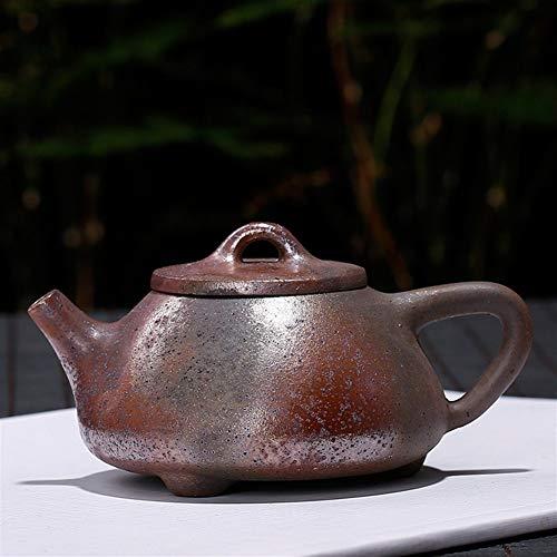 QinMei Zhou Yixing púrpura Tetera de Barro Mineral de fundición pequeña leña niño Regalo Letras Olla de Piedra Cucharada (Color : Large 240ml)