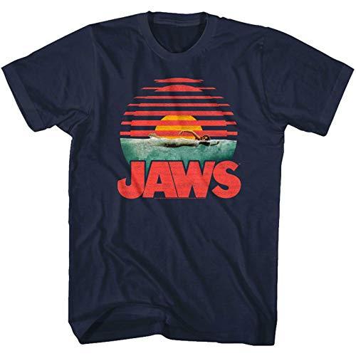 Jaws Shark Sunset Men's T Shirt Attack Bite Swimmer Horror Movie Merch Navy