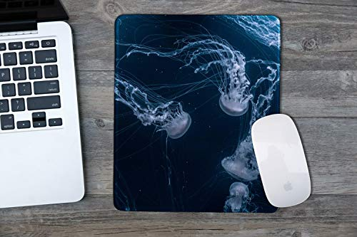 dealzEpic - Art Mouse Pad - Natural Rubber Mousepad Printed with Jellyfish in Deep Ocean - Stitched Edges - 9.5x7.9 inches Photo #2
