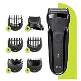 Braun Series 3 Shave&Style 300BT Afeitadora Eléctrica 3 en 1, Maquinilla Para Hombre Con Recortadora De Precisión Para La Barba, 5 Peines, Color Negro