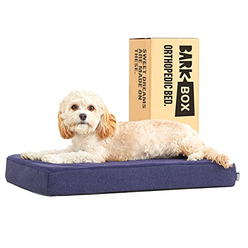Barkbox Memory Foam Platform Dog Bed | Plush Mattress for Orthopedic Joint Relief | Machine Washable Cuddler with Removable Cover and Water-Resistant Lining | Includes Squeaker Toy (Small, Navy)