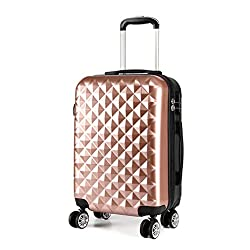 ✅✈ SIZE-INCLUDING WHEELS---(H)55cm×(L)38cm×(W)24cm; Weight:2.6kgs. Capacity:39L.suitable for Easyjet.British Airways etc. ✅✈MATERIAL--- Lightweight and durable ABS+PC hard shell;Scratch & Pressure-resistant & Waterproof. The fully lined interior and ...