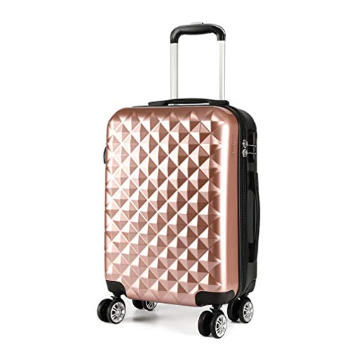 Kono 20' Hand Luggage Lightweight Hard Shell PC+ABS Suitcase 4 Spinner Wheels 360 Degree Rolling Cabin (Small, Nude)