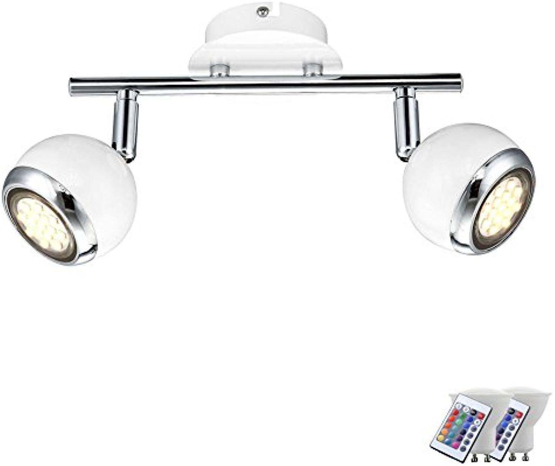 LED Decken Leuchte Chrom Küchen Wand Spot verstellbar Dimmer im Set inkl. RGB LED Leuchtmittel