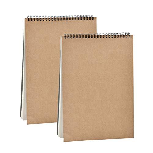 FOCCTS 2pcs A4 Blocs de Dibujos - Cuadernos de Dibujos DIY Cada 30 Hojas/160g Adecuado para Bocetos, Plumas de Acuarela, Crayones, Pinturas al Oleo, proyectos de diseño