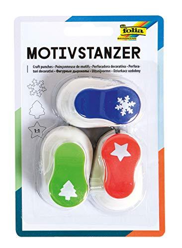 folia 7009 - Motivstanzer Weihnachtsmotive, Motivlocher, 3 Stanzer 15 mm, Stern, Tannenbaum und Schneeflocke