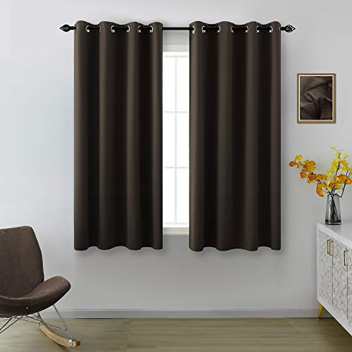 Brown Curtains 45 Inch Length for Bathroom 2 Panels Sets Grommet Blackout Short Curtains for Bedroom Chocolate Dark Brown 52 by 45 Inch Length