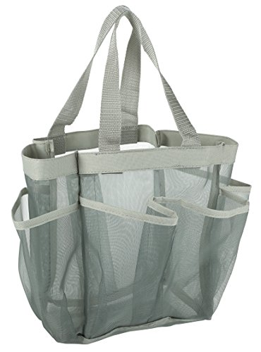 7 Pocket Shower Caddy Tote, Grey - Keep your shower essentials within easy reach. Shower caddies are perfect for college dorms, gym, shower, swimming and travel. Mesh allows water to drain easily.