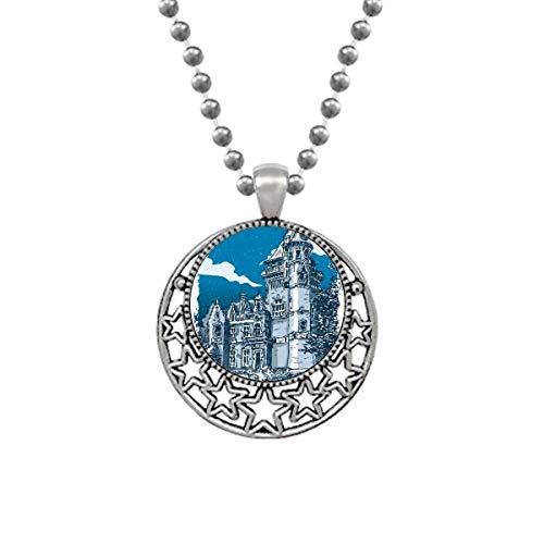 Beauty Gift Old Castle Colar com emblema de cavaleiros medievais da Europa, joia retrô com estrelas da lua