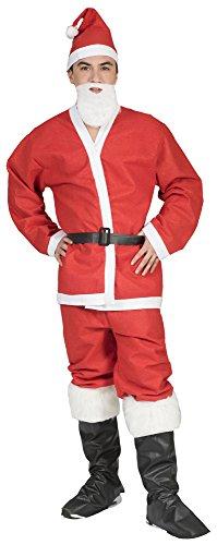 Das Kostümland Weihnachtsmann Nikolaus Kostüm - 5-teiliges Set mit Bart, Mütze, Jacke, Hose und Gürtel - für Weihnachten, Weihnachtsfeier, Party und Fasching, Rot/Weiß, M/L