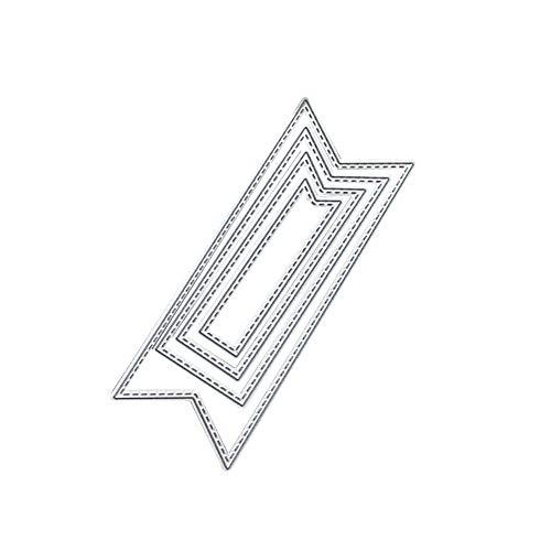 Kuizhiren1 Plantilla de corte, 4 piezas/juego de troqueles de metal con forma de banner para decoración de álbumes de recortes