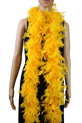 """Over 18 Color- 40 Gram 72"""" Long, Turkey Chandelle Feather Boa, Dancing Wedding Crafting Party Dress Up, Halloween Costume Decoration (Gold Yellow Color)"""