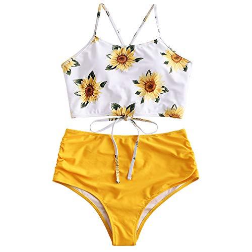 ZAFUL Damen Sexy Sonnenblume Drucken Schnüren Criss Cross Hoher Schnitt Bikini Set Badeanzug (2XL, GELB 2)