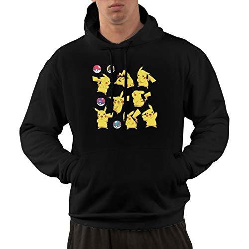 Pokemon - Sudadera con capucha para hombre y mujer, diseño clásico de dibujos animados, con bolsillo canguro, sudadera de algodón suave y cómodo, color negro