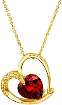 Finecraft Heart Pendant Necklace with Red Cubic Zirconia