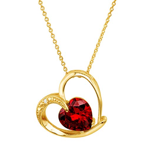 Finecraft Heart Pendant Necklace with Red Cubic Zirconia in 18K Gold-Plated Brass,...