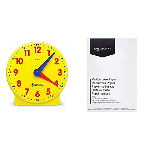 Learning Resources Big Time™ Student Learning Clock® & AmazonBasics Druckerpapier, DIN A4, 80 g/m², 500 Blatt, Weiß