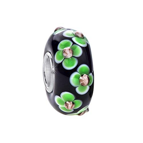 MATERIA 3D Murano Glas Beads Anhänger Blume 925 Silber violett grün für Beads Armband #168